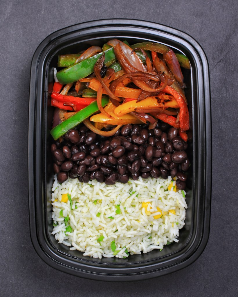 Vegan Fajita Bowl with Cilantro Lime Jalapeno Rice, Black Beans and Bell Peppers