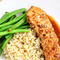 Sesame Ginger Glazed Salmon Brown Rice String Beans - My Body My Kitchen