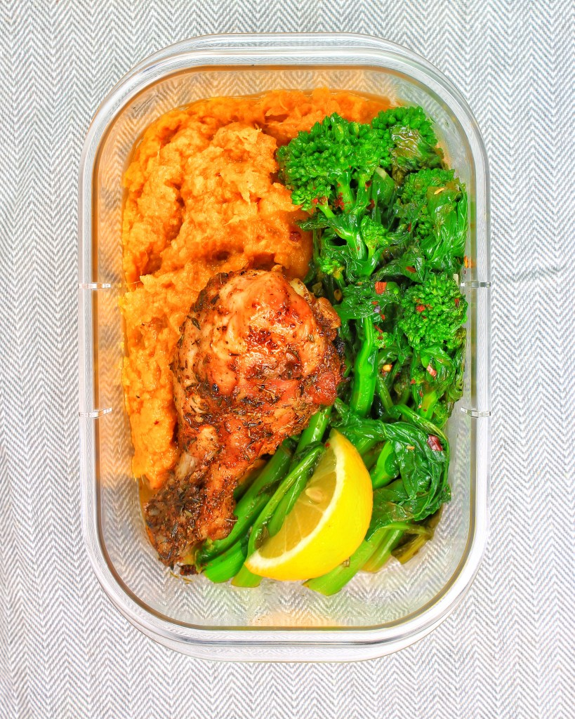 Meal Prep - Chicken, Garlic Broccoli (Broccolini) Rabe, Yams