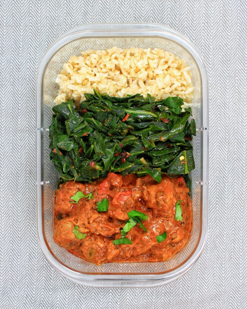 Meal Prep - West African Peanut Stew Chicken Mafe, Collard Greens, Brown Rice