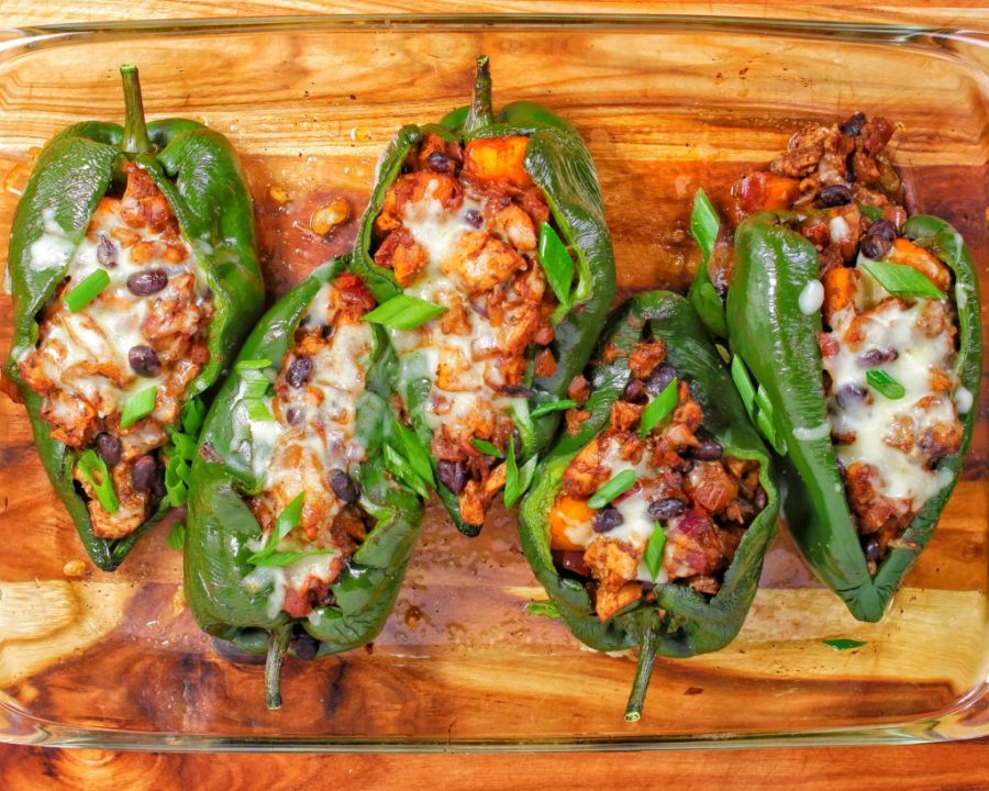 Jerk Chicken Stuffed Poblano Peppers