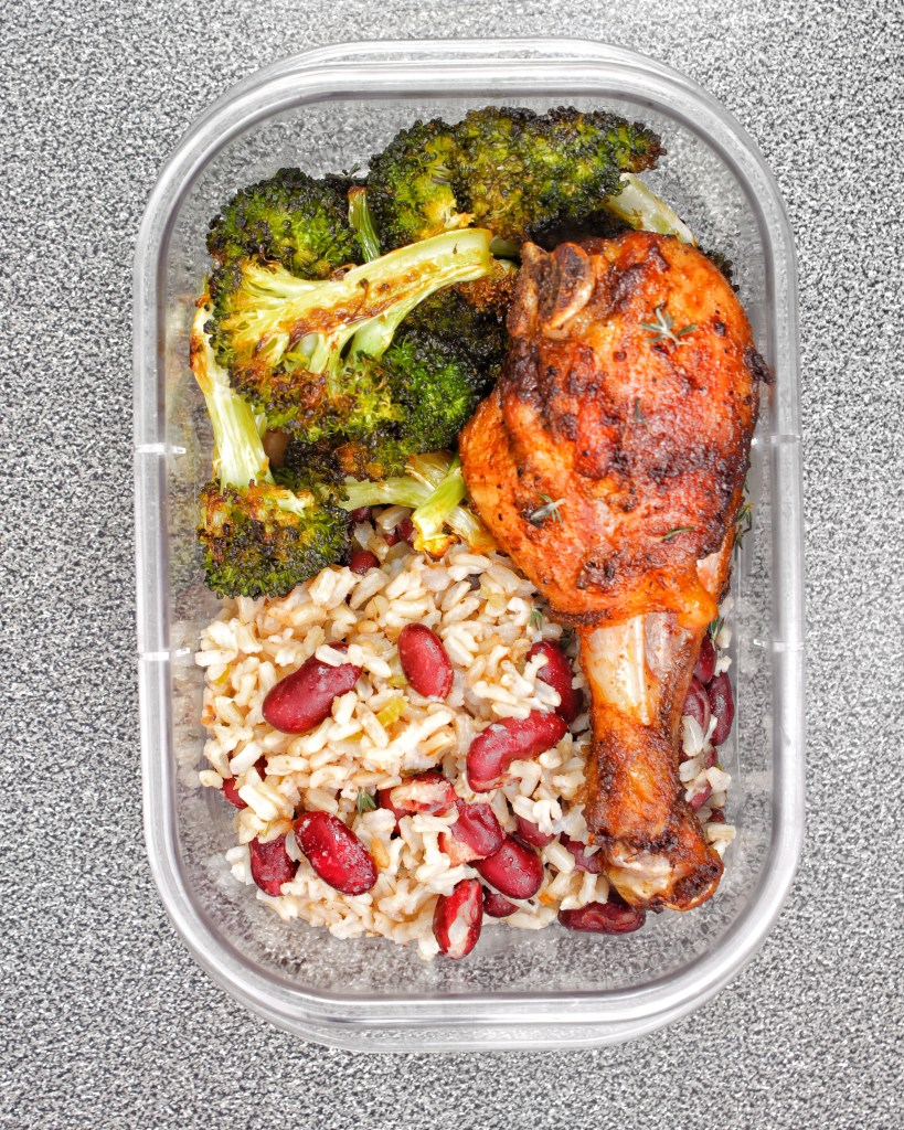 Jamaican Rice Peas Roasted Broccoli Baked Chicken My Body My Kitchen Meal Prep Gluten Free Easy Recipe Caribbean
