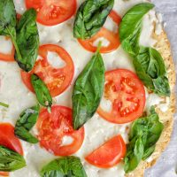Low Carb Pizza Crust Topped with Garlic Basil Mozzarella & Tomatoes