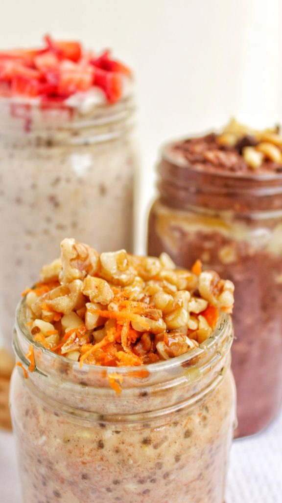 Overnight Oats Chocolate Peanut Butter, Cheesecake & Carrot Cake My Body My Kitchen