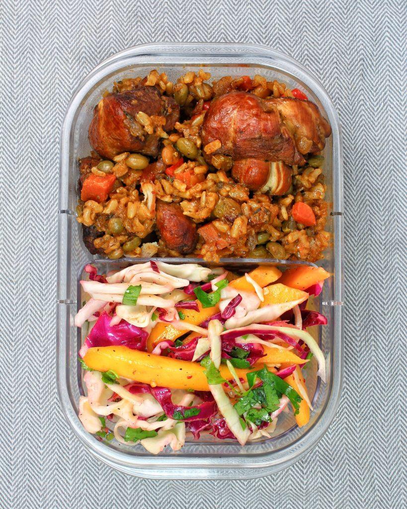 Chicken Pelau, Mango Cilantro Slaw