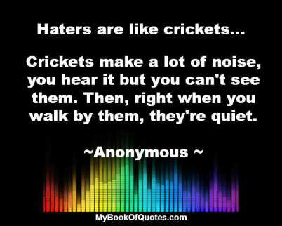 Haters are like crickets wiz