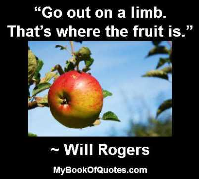 Go out on a limb That's where the fruit is