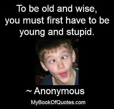 To be old and wise, you must first have to be young and stupid.