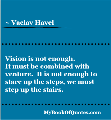 Vision is not enough It must be combined with venture