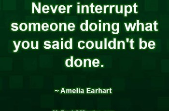 Never interrupt someone doing what you said couldn't be done. ~ Amelia Earhart