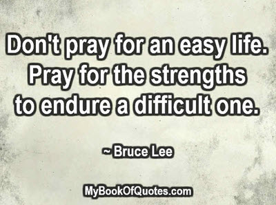 Don't pray for an easy life. Pray for the strengths to endure a difficult one. ~ Bruce Lee