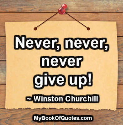 Never, never, never give up. ~ Winston Churchill