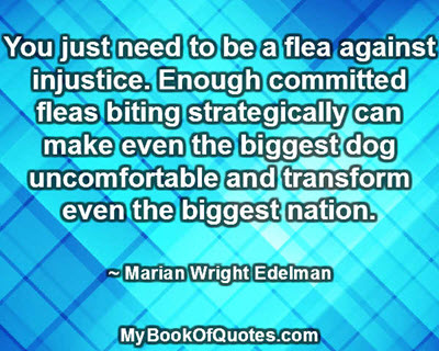 You just need to be a flea against injustice. Enough committed fleas biting strategically can make even the biggest dog uncomfortable and transform even the biggest nation. ~ Marian Wright Edelman