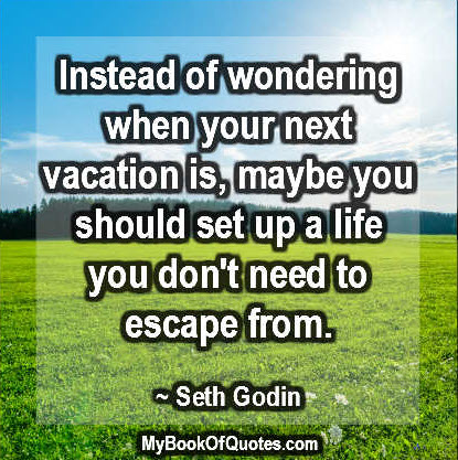Instead of wondering when your next vacation is, maybe you should set up a life you don't need to escape from. ~ Seth Godin