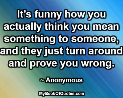 It's funny how you actually think you mean something to someone, and they just turn around and prove you wrong. ~ Anonymous
