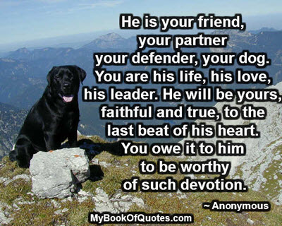 He is your friend, your partner your defender, your dog. You are his life, his love, his leader. He will be yours, faithful and true, to the last beat of his heart. You owe it to him to be worthy of such devotion. ~ Anonymous