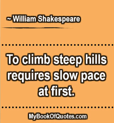 To climb steep hills requires slow pace at first. ~ William Shakespeare