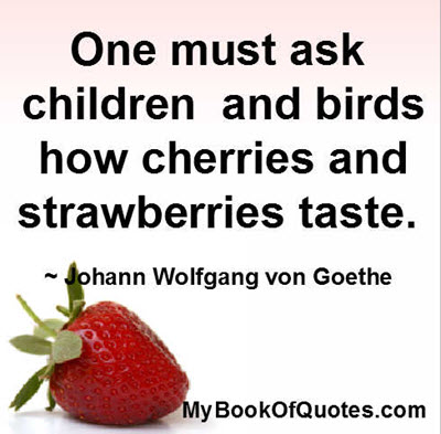 One must ask children and birds how cherries and strawberries taste. ~ Johann Wolfgang von Goethe