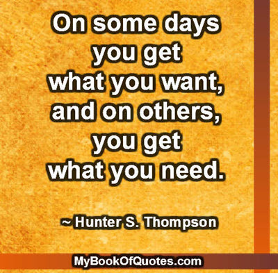 On some days you get what you want, and on others, you get what you need. ~ Hunter S. Thompson