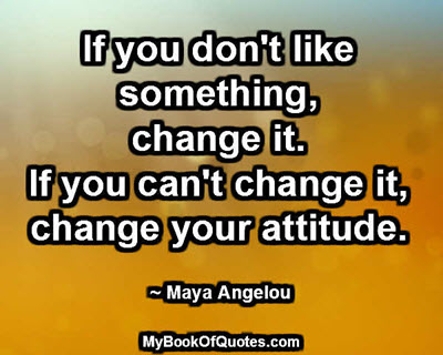 If you don't like something, change it. If you can't change it, change your attitude. ~ Maya Angelou