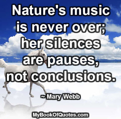 Nature's music is never over; her silences are pauses, not conclusions. ~ Mary Webb