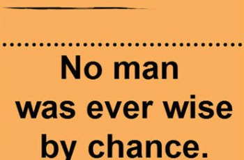 No man was ever wise by chance. ~ Lucius Annaeus Seneca