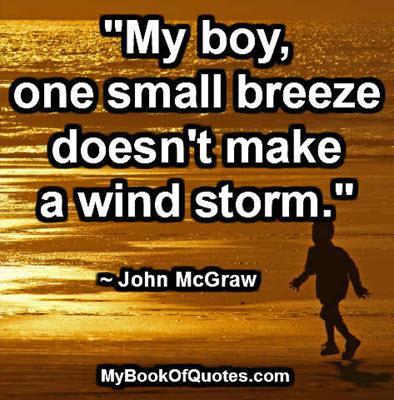 """My boy, one small breeze doesn't make a wind storm."" ~ John McGraw"