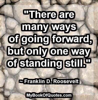 """""""There are many ways of going forward, but only one way of standing still."""" ~ Franklin D. Roosevelt"""