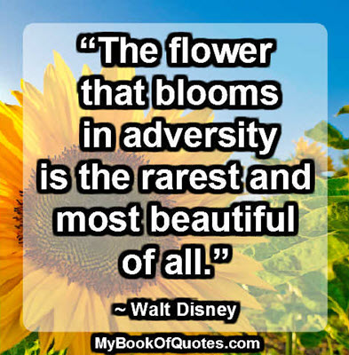 """The flower that blooms in adversity is the rarest and most beautiful of all."" ~ Walt Disney"