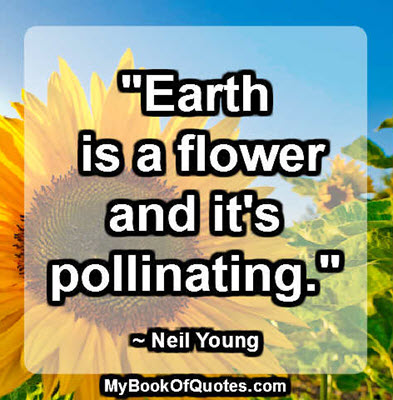 """Earth is a flower and it's pollinating."" ~ Neil Young"