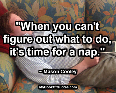 """When you can't figure out what to do, it's time for a nap."" ~ Mason Cooley"