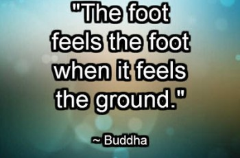 """The foot feels the foot when it feels the ground."" ~ Buddha"
