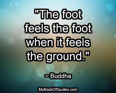 """""""The foot feels the foot when it feels the ground."""" ~ Buddha"""