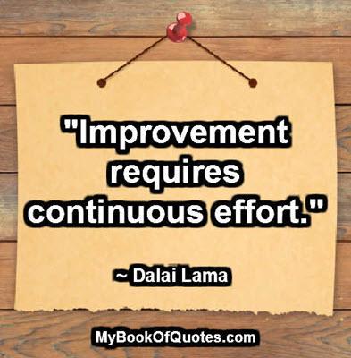 """""""Improvement requires continuous effort."""" ~ Dalai Lama"""
