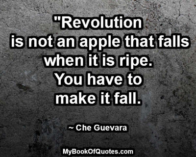 """""""Revolution is not an apple that falls when it is ripe. You have to make it fall.""""  ~ Che Guevara"""
