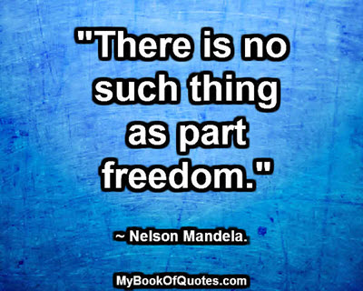 """""""There is no such thing as part freedom."""" ~ Nelson Mandela"""
