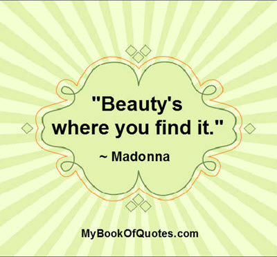 """Beauty's where you find it."" ~ Madonna"