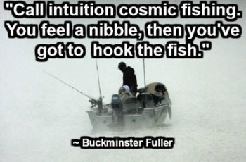 """Call intuition cosmic fishing. You feel a nibble, then you've got to hook the fish."" ~ Buckminster Fuller"