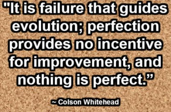 """""""It is failure that guides evolution; perfection provides no incentive for improvement, and nothing is perfect."""" ~ Colson Whitehead"""
