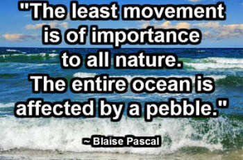 """The least movement is of importance to all nature. The entire ocean is affected by a pebble."" ~ Blaise Pascal"