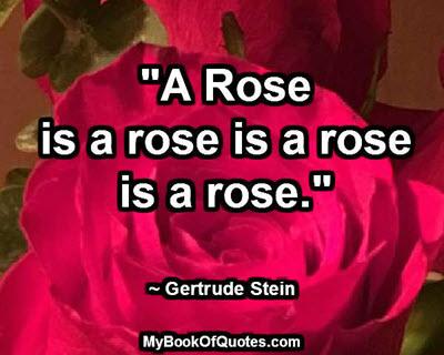 """A Rose is a rose is a rose is a rose."" ~ Gertrude Stein"