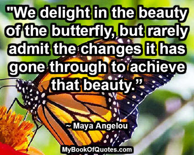 """We delight in the beauty of the butterfly, but rarely admit the changes it has gone through to achieve that beauty."" ~ Maya Angelou"