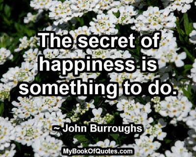 The secret of happiness is something to do