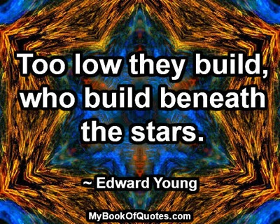 Too low they build, who build beneath the stars. ~ Edward Young