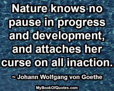 Nature knows no pause in progress and development, and attaches her curse on all inaction. ~ Johann Wolfgang von Goethe