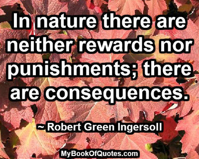 In nature there are neither rewards nor punishments; there are consequences. ~ Robert Green Ingersoll