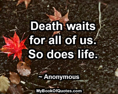Death waits for all of us. So does life. ~ Anonymous