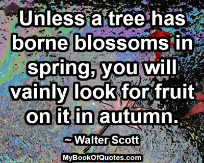 Unless a tree has borne blossoms in spring, you will vainly look for fruit on it in autumn. ~ Walter Scott