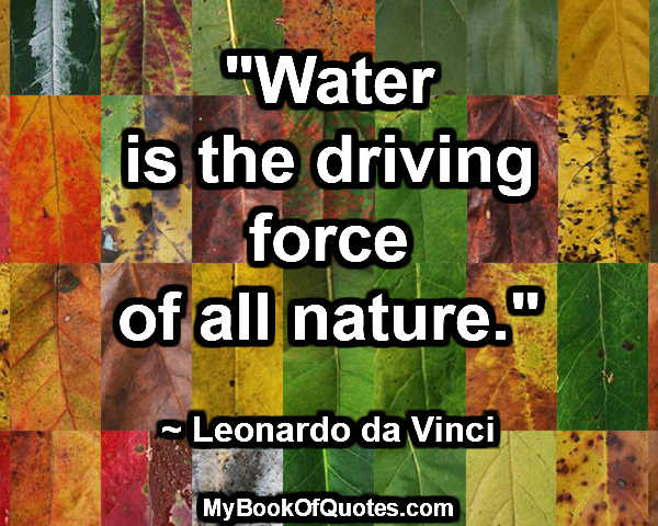"""Water is the driving force of all nature."" ~ Leonardo da Vinci"