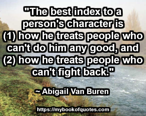 index to a person's character